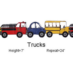Boys Love Trucks Why not decorate your little ones wall with this delightful border which theyll surely love Brightly colored vehicles lined up in a row will absolutely add that touch of excitement to their room