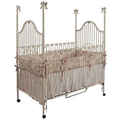 Scalloped Bow Finial Iron Baby Crib