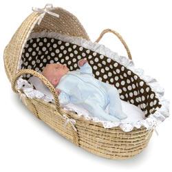 Badger Basket Natural Hooded Moses Basket with Brown Polka Dot Bedding