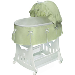 Badger Basket Waffle Pleated Bassinet with Toy Box Base