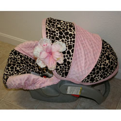Minky Giraffe and Pink Infant Car Seat Cover