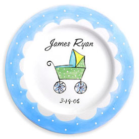Little Worm And Company Baby Carriage Birth Plate