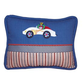 Doodlefish Embroidered Racecars Pillow