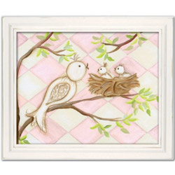 Doodlefish Bird Pink Diamond Wall Art