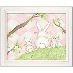 Doodlefish Bunny Pink Diamond Wall Art