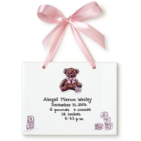 Jamies Painting and Design Teddy Bear Girl Birth Certificate