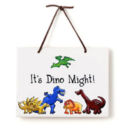 Jamies Painting and Design Dino Just Because Plaque