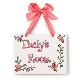 Jamies Painting and Design Big Roses Name Plaque