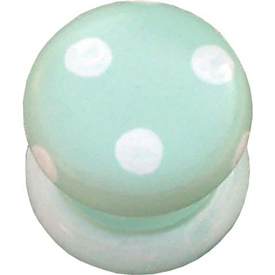 Green and White Polka Dotted Knob (Packs of 6)
