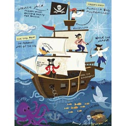 Ahoy On The Open Seas-Pirates! Stretched Canvas