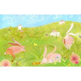 Oopsy Daisy/No Boundaries Kimono Rabbits Stretched Art