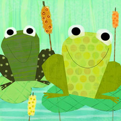 Friendly Frogs Stretched Art