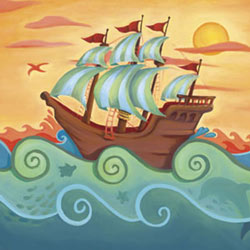 Oopsy Daisy/No Boundaries Pirate Ship Stretched Art