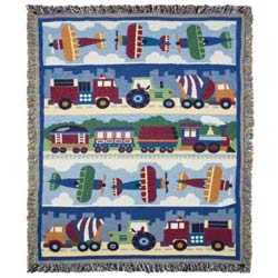 Olive Kids Trains, Planes and Truck Woven Throw