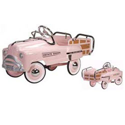 American Retro Pink Estate Wagon Kids Pedal Car