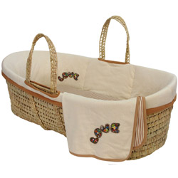 Sleeping Partners Organic Love Embroidered Moses Basket