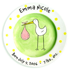 Little Worm And Company Stork Birth Plate
