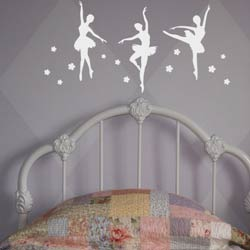 Alphabet Garden Designs Ballerina Trio Wall Decal