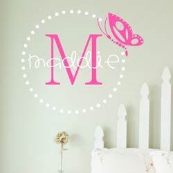 Alphabet Garden Designs Butterfly Dots Monogram Wall Decal