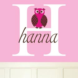 Alphabet Garden Designs Hanna's Owl Wall Decal