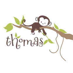 Alphabet Garden Designs Personalized Monkey Branch Wall Decal
