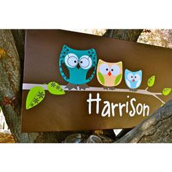 Alphabet Garden Designs Owl Family Cavas Wall Art
