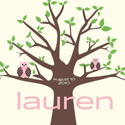Alphabet Garden Designs Owl Tree Canvas Wall Art