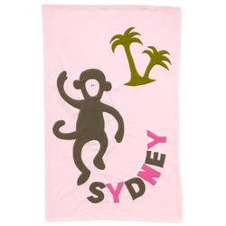 Admiral Road Personalized Monkey Pink Blanket