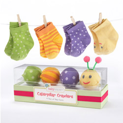 Kate Aspen Caterpillar Crawlers Baby Socks Gift Set