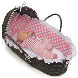 Badger Basket Espresso Moses Basket with Pink Polka Dot Bedding