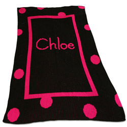 Custom Polka Dot & Straight Border Stroller Blanket