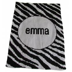 Custom Zebra Strip Stroller Blanket