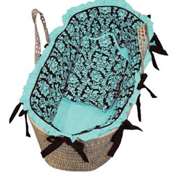 Baby Doll Ruffled Damask Moses Basket