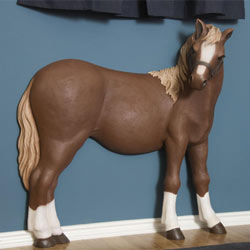3D Little Brown Pony Wall Art Decor