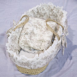 Baby Doll Brown Toile Moses Basket