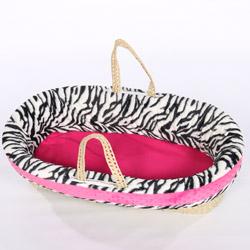 Baby Doll Minky Zebra Moses Basket