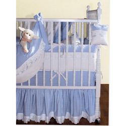 Blauen Blue Checker Crib Bedding Set