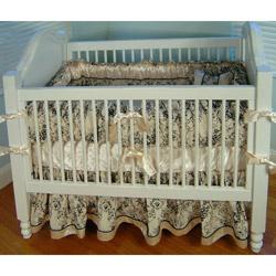 Black Toile Crib Bedding Set