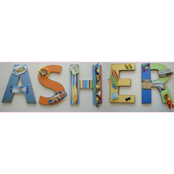 Asher's Surfing Wall Letters