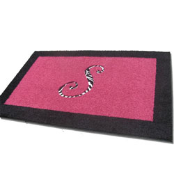 Rectangle Border Rug with Animal Print Initial