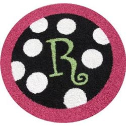 Round Polka Dots Initial Bordered Rug