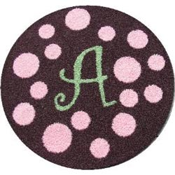 Round Polka Dots Initial Rug