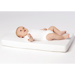 Innovative Design with Your Baby Mind  Our innovative Bassinet Pod Mattress insures your babys proper cranial development With a contoured pod area for your little ones head and body this mattress will provide maximum comfort and support without causing external pressure on babys head Cradles your baby as gently as you   Sculpted pod area to reduce external pressure on babys head  Polyurethane foam core   Moisture-resistant protective cover   Pad should never be placed on top of another mattress or pad  Recommended Age: 0-3 months