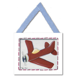 Doodlefish Red Plane Wall Hanging