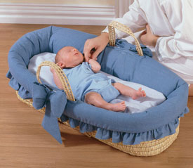 Baby Doll Denim Ruffled Moses Basket