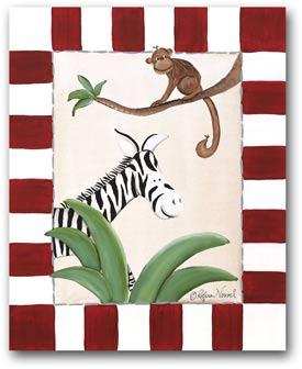 Doodlefish Zebra & Monkey Artwork