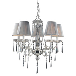 Polished Silver and Iced Glass 5 Light Chandelier