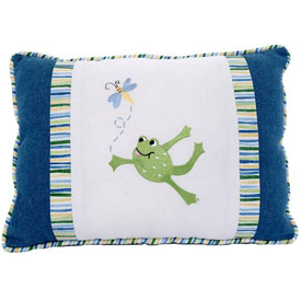 Doodlefish Embroidered Freddy Frog Pillow