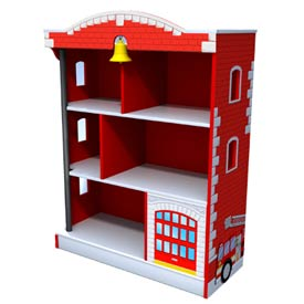 Watch your heros imagination zoom into action  when he takes a book from this ingenious bookcase  This firehouse bookcase is screen painted with authentic detailing It comes complete with a yellow bell to alert your always-ready firefighter and a firemans pole for a quick exit Their are six separate compartments to store your little boys books and a hidden storage center behind the garage where your hero can hide his precious possessions while he is off making a rescue