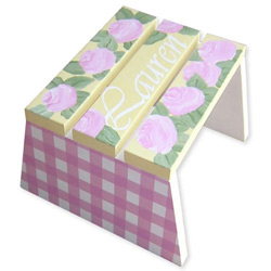 Flowers And Gingham Stool